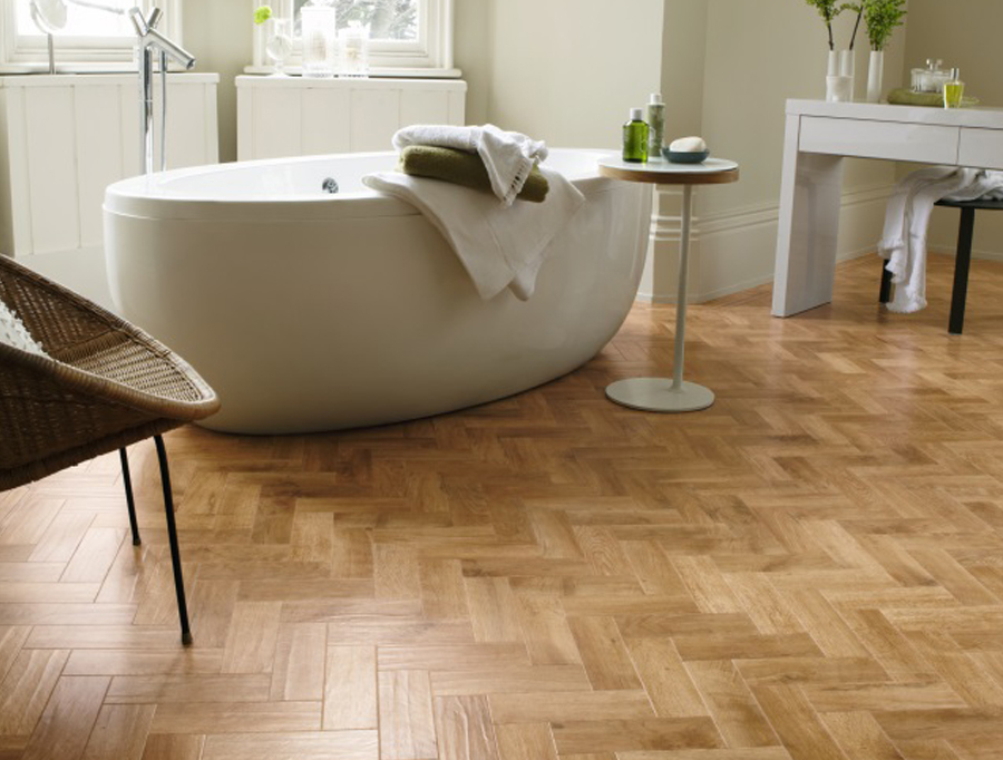 Karndean Art Select Oak Parquet Blond Oak in Bathroom